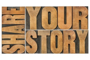 share your story word abstract - isolated text in vintage letterpress wood type
